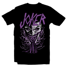 Load image into Gallery viewer, Heavy Metal Tees by Draculabyte l Made from 100% cotton, this unisex t-shirt rocks. Black T-shirt in sizes from small to 6X. Headbangers, Rock, Graphic Art, Shirt, Clothing, Cool, Fashion, Joker, Haha, Batman, Dark Knight, Slayer, Movie, Film, Comic, Villain, Clown,  Robin, Gotham City, DC, Comic Book, Pyscho, Justice League, Bane, Two Face