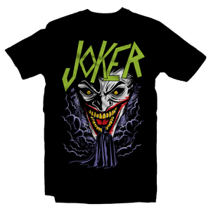 Heavy Metal Tees by Draculabyte l Made from 100% cotton, this unisex t-shirt rocks. Black T-shirt in sizes from small to 6X. Headbangers, Rock, Graphic Art, Shirt, Clothing, Cool, Fashion, Joker, Haha, Batman, Dark Knight, Slayer, Movie, Film, Comic, Villain, Clown,  Robin, Gotham City, DC, Comic Book, Pyscho, Justice League, Bane, Two Face