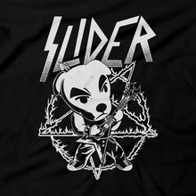 Load image into Gallery viewer, Heavy Metal Tees by Draculabyte l Made from 100% cotton, this unisex t-shirt rocks. Black T-shirt in sizes from small to 6X. Metalheads, SNES, NES, Animal Crossing, Dog, KK Slider, Guitar, Smash Bros, Retro Gamer, Graphic Art, Super Nintendo, Switch, Game Boy, Advance, 3DS, Animal Forest, Mario Kart, New Horizons, Tom Nook, Slayer