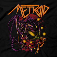 Load image into Gallery viewer, Heavy Metal Tees by Draculabyte l Made from 100% cotton, this unisex t-shirt rocks. Black T-shirt in sizes from small to 6X. Metroid, Samus Aran, Sci-Fi, Science Fiction, SNES, Nintendo, NES, Bounty Hunter, Space, Mother Brain, Kraid, Zebes, Prime, 4, Zero Suit, Retro Wave, Switch, Alien, Ridley, Smash Bros