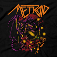 Heavy Metal Tees by Draculabyte l Made from 100% cotton, this unisex t-shirt rocks. Black T-shirt in sizes from small to 6X. Metroid, Samus Aran, Sci-Fi, Science Fiction, SNES, Nintendo, NES, Bounty Hunter, Space, Mother Brain, Kraid, Zebes, Prime, 4, Zero Suit, Retro Wave, Switch, Alien, Ridley, Smash Bros