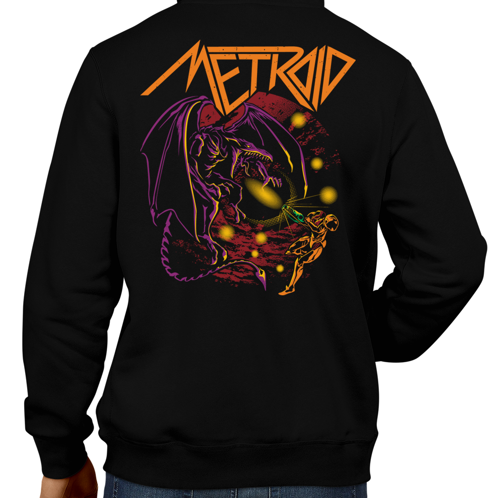 This unisex hoodie rocks. Black Hoodie For Men or Women. Sizes S to 5X - Metalheads, Metroid, Samus Aran, Sci-Fi, Science Fiction, SNES, NES, Bounty Hunter, Mother Brain, Kraid, Zebes, Prime, Zero Suit, Alien, Ridley, Smash Bros, Retro Gamer, Graphic Art, Space, Super Nintendo