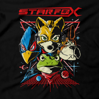 Heavy Metal Tees by Draculabyte l Made from 100% cotton, this unisex t-shirt rocks. Black T-shirt in sizes from small to 6X. Fox Mccloud, Star Fox, Star Fox 64, Nintendo 64, N64, SNES, Super Nintendo, Arwing, Falco, Peppy, Slippy, Shooter, Andross Smash Bros Ultimate, Graphic Art. Wolf, Pigma, Retro Gamer, Gaming, Video Game, Clothes, Shirt