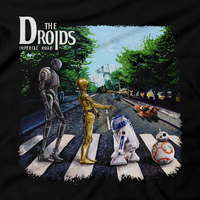 Heavy Metal Tees by Draculabyte l Made from 100% cotton, this unisex t-shirt rocks. Black T-shirt in sizes from small to 6X. Graphic Art, Rock, Movie, Film, Sci-Fi, Yoda, Baby Yoda, Jedi, The Force, Mandalorian, Boba Fett, C-3PO, R2D2, BB8, The Droids, Star Wars, Luke Skywalker, Princess Leia, Jawas, Jawa, Sand Crawler, Album, Music, The Beatles