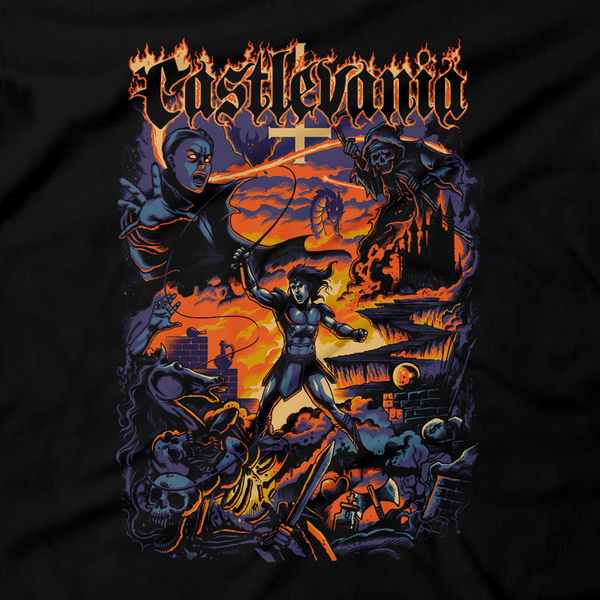 Heavy Metal Tees by Draculabyte l Made from 100% cotton, this unisex t-shirt rocks. Black T-shirt in sizes from small to 6X. Metal, Metalheads, Gamer, Nes, Super Nintendo, Pixel, 16-Bit, 1990s, Simon Belmont, Vampire Killer, SOTN, Dracula, Skull, Symphony of the Night, Super Castlevania IV, Vampire Hunter, Graphic Art, Konami, Reaper