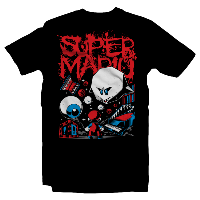 Heavy Metal Tees by Draculabyte l Made from 100% cotton, this unisex t-shirt rocks. Black T-shirt in sizes from small to 6X. King Boo, Ghost, Super Mario, SMB, Mario 3, Super Mario 64, Mario Kart 64, Retro, Video Games, Gamer, SNES, Nintendo Shirt, Switch, N64, Art, Luigi's Mansion, Halloween, Big Boo's Haunt, Piano, Red Coins, Ghost, Ghosts