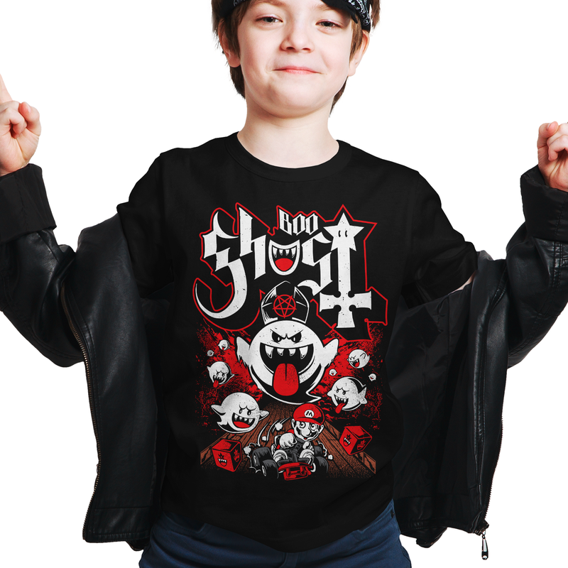 Heavy Metal Tees by Draculabyte l Made from 100% cotton, this unisex t-shirt rocks. Black T-shirt in sizes from small to 6X. Heavy Metal Tees by Draculabyte - Made from 100% cotton, King Boo, Ghost, Super Mario, SMB, Mario 3, Super Mario 64, Mario Kart, Mario Kart 64, Retro, Video Games, Gamer, Ghost Band, Papa Emeritus, Odyssey, SNES, Shirt Nintendo Shirt, N64, Store, Kids, Boy, Girl, Music, Gothic, Cute, Switch
