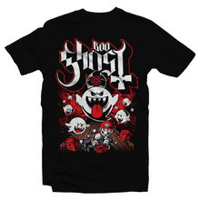 Load image into Gallery viewer, Heavy Metal Tees by Draculabyte l Made from 100% cotton, this unisex t-shirt rocks. Black T-shirt in sizes from small to 6X. Papa Ghost, King Boo, Ghost, Super Mario, SMB, Mario 3, Super Mario 64, Mario Kart, Mario Kart 64, Retro, Video Games, Gamer, Ghost Band, Papa Emeritus, Nintendo Shirt, Switch, N64, Graphic Art.