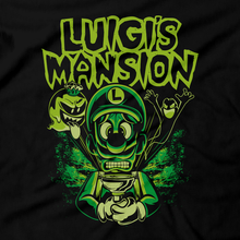 Load image into Gallery viewer, Heavy Metal Tees by Draculabyte l Made from 100% cotton, this unisex t-shirt rocks. Black T-shirt in sizes from small to 6X. Graphic Art, Boss, Rock and Roll, Princess, Nintendo Switch, Marilyn Manson, Luigi's Mansion, 2, 3, Gamecube, King Boo, Ghost, Gooigi, Super Mario, SMB, 3DS, Haunted House, Hotel, Sweet Dreams, Dark Moon, Polterpup,  Professor E. Gadd