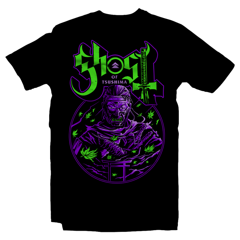 Heavy Metal Tees by Draculabyte l Made from 100% cotton, this unisex t-shirt rocks. Black T-shirt in sizes from small to 6X. Metalheads - Gamer, Graphic Art, Video Games, Japan, Japanese, Samurai, Shimura is the jito (lord), ghost of tsushima, Jin Sakai, Mongol, Sword, Sakai Katana, Half Bow, Arrows, Sakai Tanto, Khotun Khan, Empire, Red Sun, Video games