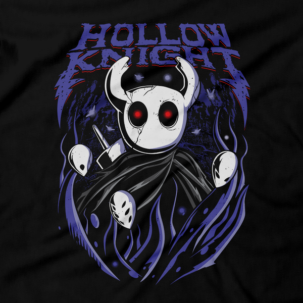 Heavy Metal Tees by Draculabyte l Made from 100% cotton, this unisex t-shirt rocks. Black T-shirt in sizes from small to 6X. Metalheads - Gamer, Bugs, Beetle, Hollow Knight, Failed Champion, False Knight, Maggot, Insects, Adventure, Metroidvania, Team Cherry, Vessel, Ghost, Nameless, Mask Shards, Hallownest, Dream Nail, Radiance, Hornet