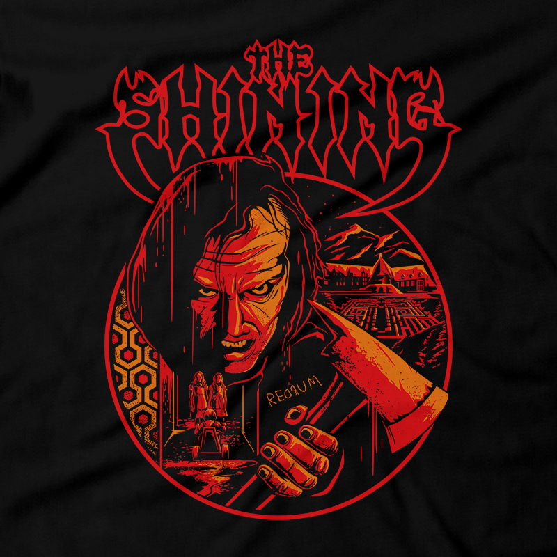 Heavy Metal Tees by Draculabyte l Made from 100% cotton, this unisex t-shirt rocks. Black T-shirt in sizes from small to 6X. Stanley Kubrick, The Shining, Overlook Hotel, Here's Johnny, Stephen King, Jack Nicholson, Shelley Duvall, Wendy Torrance, Danny Lloyd, Danny Torrance, Jack Torrance, Grady Twins, Room 237, Maze, Redrum, Murder, Horror, Art
