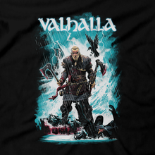 Load image into Gallery viewer, Heavy Metal Tees by Draculabyte l Made from 100% cotton, this unisex t-shirt rocks. Black T-shirt in sizes from small to 6X. Metalheads, Vikings, Norway, England, Clan, RPG, Boat, Sailing, Eivor, Assassin's Creed, Valhalla, Brutal, Axe, Dark Ages, Warrior, Fighter, Hall of the Slain, Valkyries, Anglo-Saxon, Kingdom, amon amarth