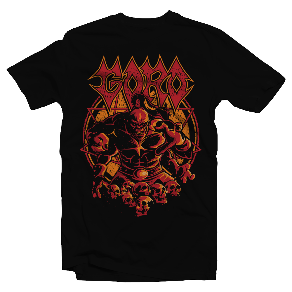 Heavy Metal Tees by Draculabyte l Made from 100% cotton, this unisex t-shirt rocks. Black T-shirt in sizes from small to 6X. Metal, Metalheads, Fighting Game, Finish Him, Arcade, Fighter, Sub Zero, Mortal Kombat 11, MK, Fatality, Blood, SNES, MK2, Raiden, 90s, 1990s, Goro, Four Arms, Boss, MK11, Metal Head, Metal, Rock, Skull