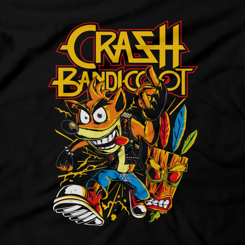 Heavy Metal Tees by Draculabyte l Made from 100% cotton, this unisex t-shirt rocks. Black T-shirt in sizes from small to 6X. Metalheads - Retro Gaming, 90s, 1990s, Crash Bandicoot, Aku Aku, Naughty Dog, PS1, Playstation 1, Playstation One, Classic, Crash 2, Crash 3 Warped, Doctor Neo Cortex, Uka Uka, Coco, Tiki Mask, Xbox, Nintendo Switch, Crate, Relic, Gem