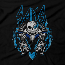 Load image into Gallery viewer, Heavy Metal Tees by Draculabyte l Made from 100% cotton, this unisex t-shirt rocks. Black T-shirt in sizes from small to 6X. Rpg, Boss, Kris, Dark World, Darkners, Undertale, Sans, Monsters, Nintendo Switch, Toby Fox, Papyrus, King, Flowey, Hero of Light, Flowey, Playstation 4, PC, Steam, Deltarune, Jevil, Undyne, Bone, Skull, Skeleton, Heart