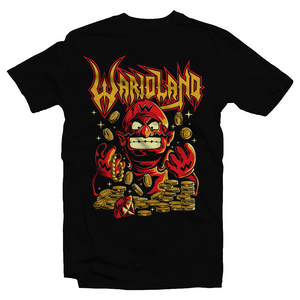 Heavy Metal Tees by Draculabyte l Made from 100% cotton, this unisex t-shirt rocks. Black T-shirt in sizes from small to 6X. Video game shirt inspired by Metal, Warbringer, Wario, Warioland, Wah, Super Mario, Super Mario Land, Super Smash Bros, Cute, Shirt, Nintendo, Switch, SMB, 6 Golden Coins, Evil, Funny, Retro Game Graphic Art.