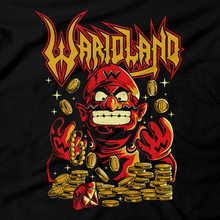 Load image into Gallery viewer, Heavy Metal Tees by Draculabyte l Made from 100% cotton, this unisex t-shirt rocks. Black T-shirt in sizes from small to 6X. Video game shirt inspired by Metal, Warbringer, Wario, Warioland, Wah, Super Mario, Super Mario Land, Super Smash Bros, Cute, Shirt, Nintendo, Switch, SMB, 6 Golden Coins, Evil, Funny, Retro Game Graphic Art.