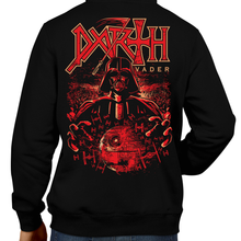 Load image into Gallery viewer, This unisex hoodie rocks. Black Hoodie For Men or Women. Sizes S to 5X - Metalheads, Graphic Art, Rock, Movie, Film, Sci-Fi, Yoda, Baby Yoda, Jedi, The Force, Mandalorian, Boba Fett, ROTJ, ANH, Darth Vader, Han Solo, Princess Leia, Sith Lord, Dark Side, Anakin Skywalker, Death, Red, Tie Fighters, The Empire