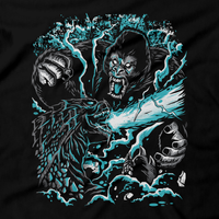 Heavy Metal Tees by Draculabyte l Made from 100% cotton, this unisex t-shirt rocks. Black T-shirt in sizes from small to 6X. Horror, Movie, Film, Monster, Godzilla, Gojira, King Kong, Godzilla VS Kong, Skull Island, Mothra, Rodan, Gigan, Mechagodzilla, Japan, Japanese, Gorilla, Creature, Lizard, Fight, Art, Tee, Store, Clothes