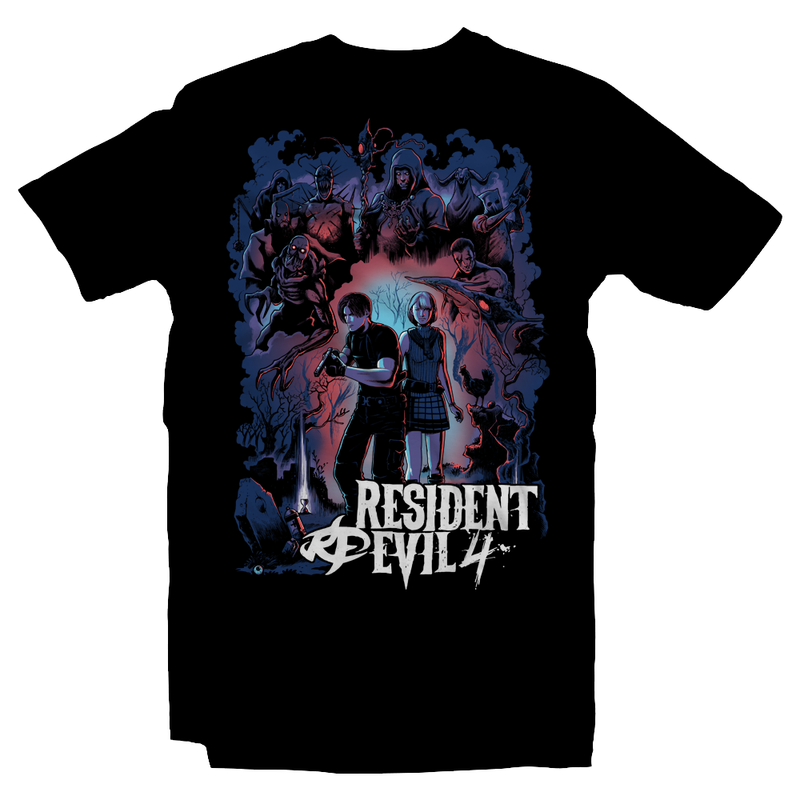 Heavy Metal Tees by Draculabyte l Made from 100% cotton, this unisex t-shirt rocks.  Black T-shirt in sizes from small to 6X Metalheads, RE, Biohazard, Umbrella, Racoon City, Leon Kennedy, Jill Valentine, Zombie, Resident Evil, 4, 7, 2, Chris Redfield, Survival Horror, T-Virus, Parasite, Gamecube,  Ashley Graham, Cult, Las Plagas