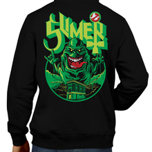 Load image into Gallery viewer, This unisex hoodie rocks. Black Hoodie For Men or Women. Sizes S to 5X - SLime the City Green. Ghostbusters inspired design with Slimer, Slime, Peter Venkman, Raymond Stantz, Egon Spengler, Who Ya Gonna Call, Zuul, New York, Logo, Stay Puft, 80s Movie, 1980s, Ghost Band, Papa Emeritus, Namco, Horror, Art