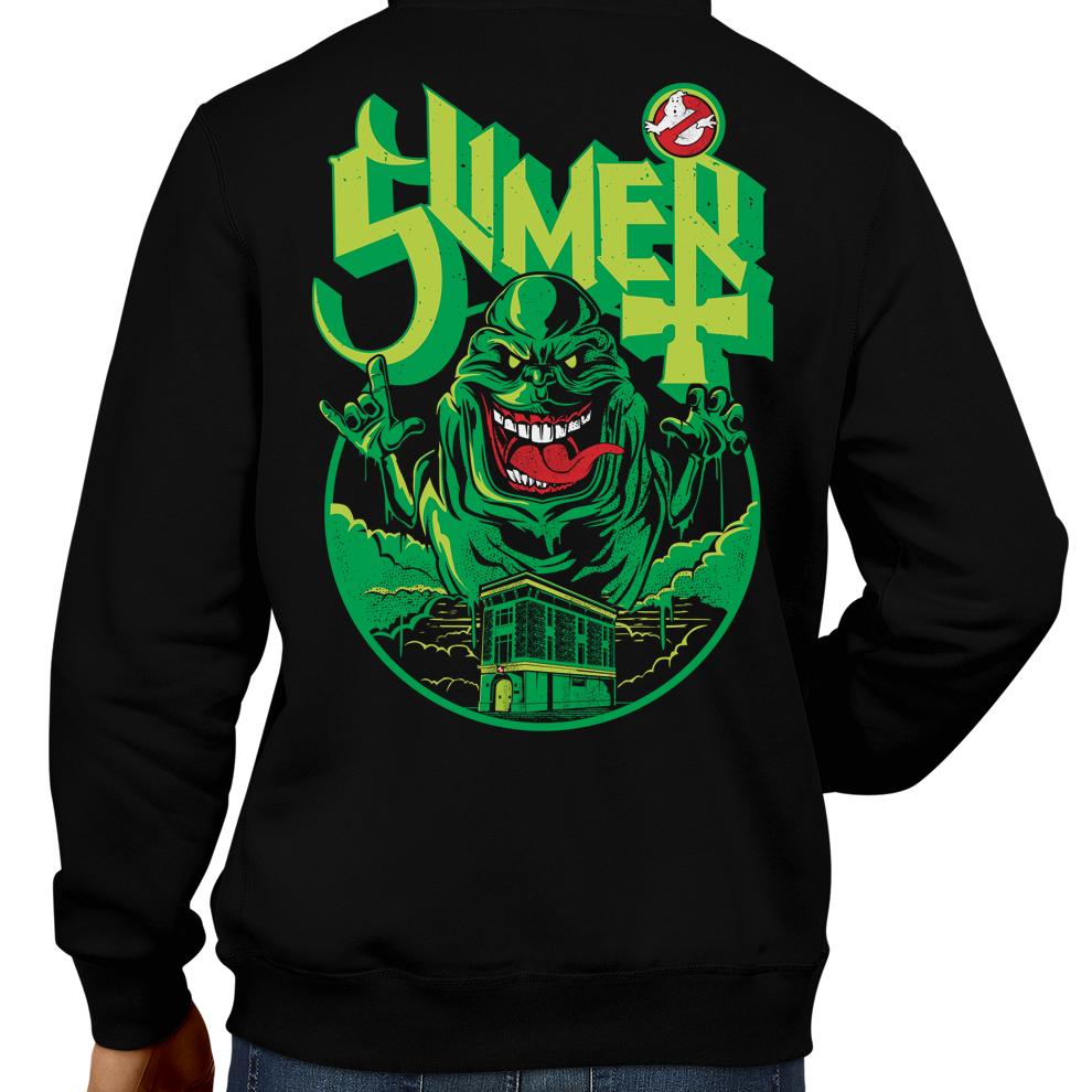This unisex hoodie rocks. Black Hoodie For Men or Women. Sizes S to 5X - SLime the City Green. Ghostbusters inspired design with Slimer, Slime, Peter Venkman, Raymond Stantz, Egon Spengler, Who Ya Gonna Call, Zuul, New York, Logo, Stay Puft, 80s Movie, 1980s, Ghost Band, Papa Emeritus, Namco, Horror, Art