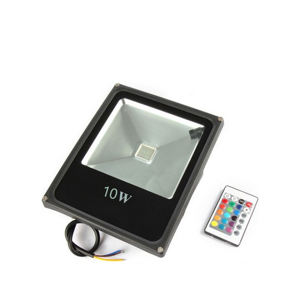 LightingWill RGB Color Changing LED Floodlight with Remote Controller IP65 Waterproof