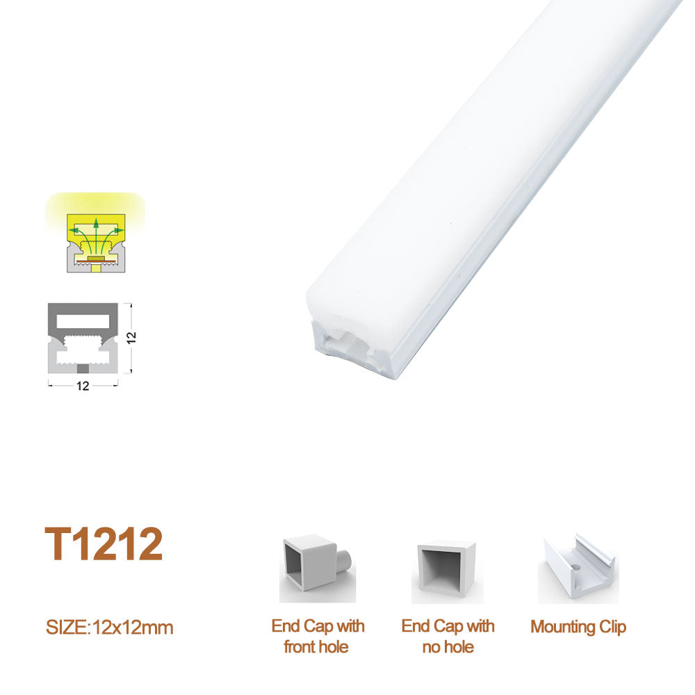 1M/5M/10M/20M Pack of  T1212  LED Neon Light Housing Kit with End Caps and Mounting Clips, Flexible Neon Channel Fit for 8mm Wide LED Strip Lights