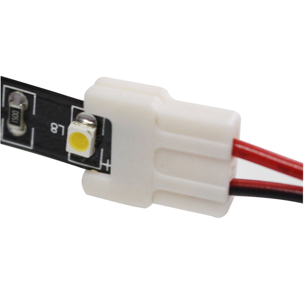 2 Pack (2016  Strip Connectors for 8mm Wide SMD 2835 Updated Version) Solderless Jumper Snap Down 2Conductor LED5 Single Color Flex LED Strips