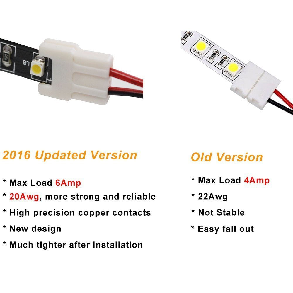 2 Pack (2016 Updated Version) Solderless Jumper Snap Down 2Conductor LED Strip Connectors for 10mm Wide SMD5050 Single Color Flex LED Strips