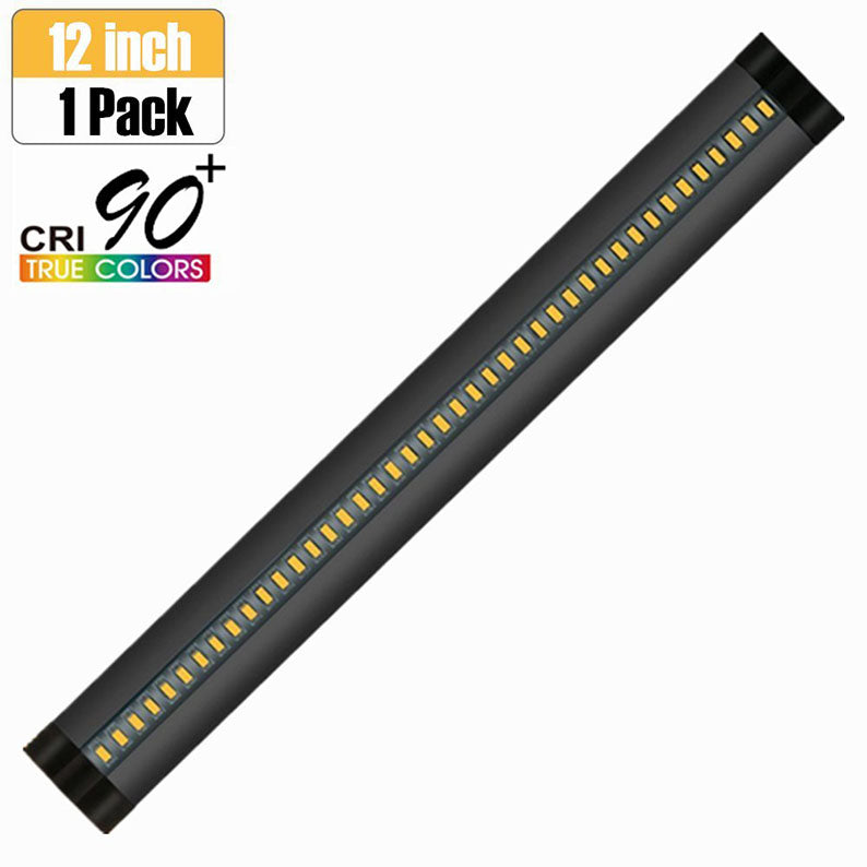 1 PACK 7mm Thick Black Finish LED Under Cabinet Lighting Dimmable Kit CRI90 300LM SMD2835 12V 5W (10W Replacement) with Dimmer & Power Supply Included