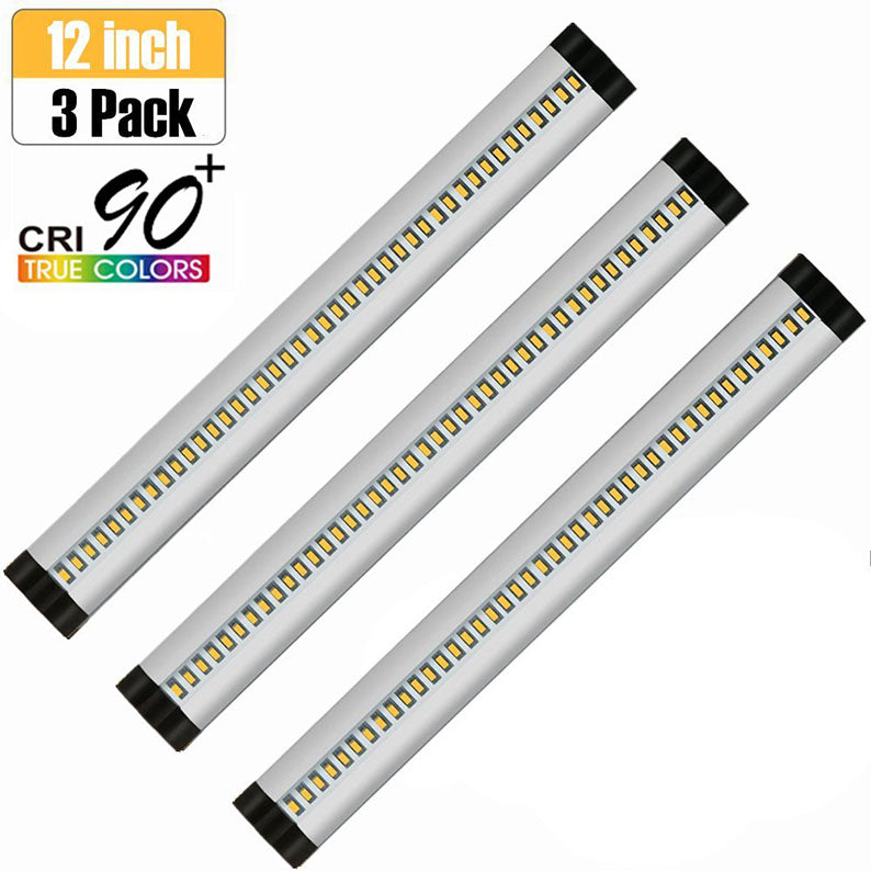 3pcs Pack Silver Finish LED Under Cabinet Lighting Kit Dimmable CRI90 Ultra Thin SMD2835 12V 15W (30W Replacement) 900 Lumens with Dimmer & Power Supply Included