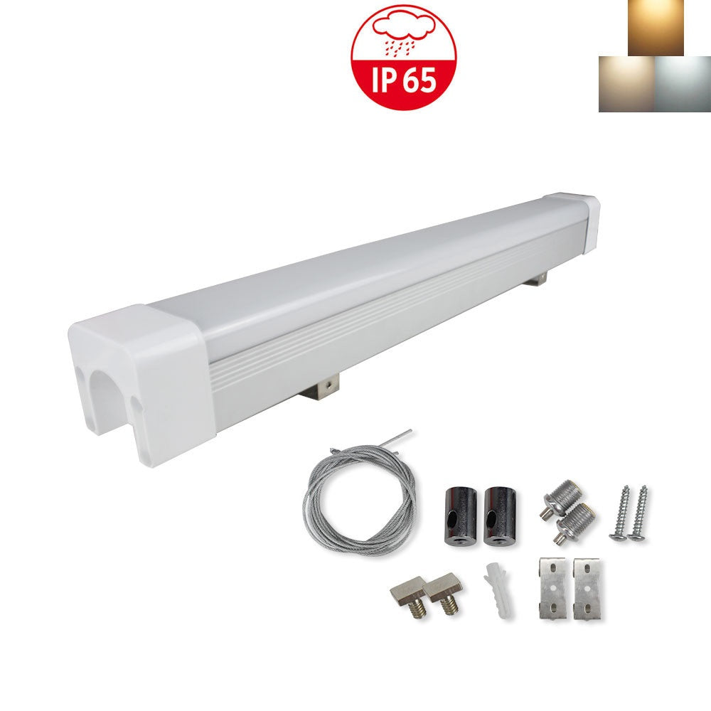 LightingWill  Weatherproof IP65 Non-dimmable LED Linear Batten 2 / 3 / 4 /5 Feet (600mm) 18W in Aluminum + PC Housing- Model B