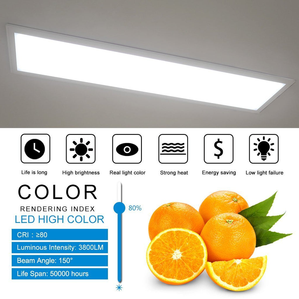1'x4' (295x1195mm) 40W LED Panel Light in 0.39'' (10mm) White Trim Flat Sheet Panel Lighting Board Super Bright Ultra Thin Glare-Free