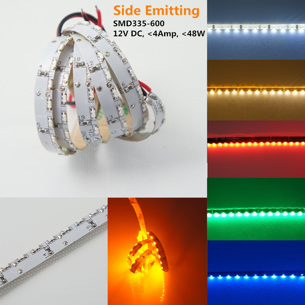 DC12V 5Meter (16.4Ft) Side-Emitting SMD335 600LEDs/Roll Flexible LED Strips 120LEDs/M 9.6W Per Meter Ribbon Lamp 8mm Wide