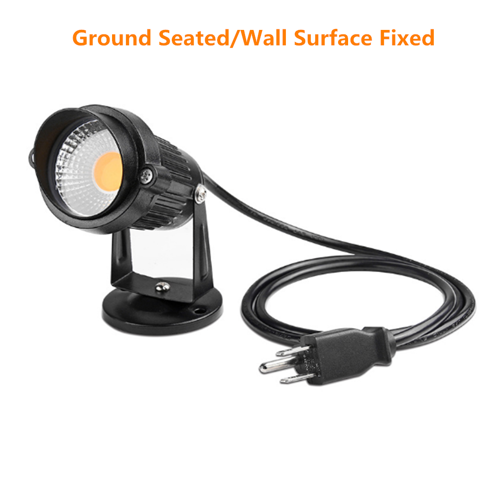 LightingWill FREE SHIPPING 5 PACK of 5W Outdoor IP65 Ground Inserted / Seated LED Garden Light Bullet Head Black Color Finish 85-265V AC Non-Dimmable with Plug and Play Power Cord