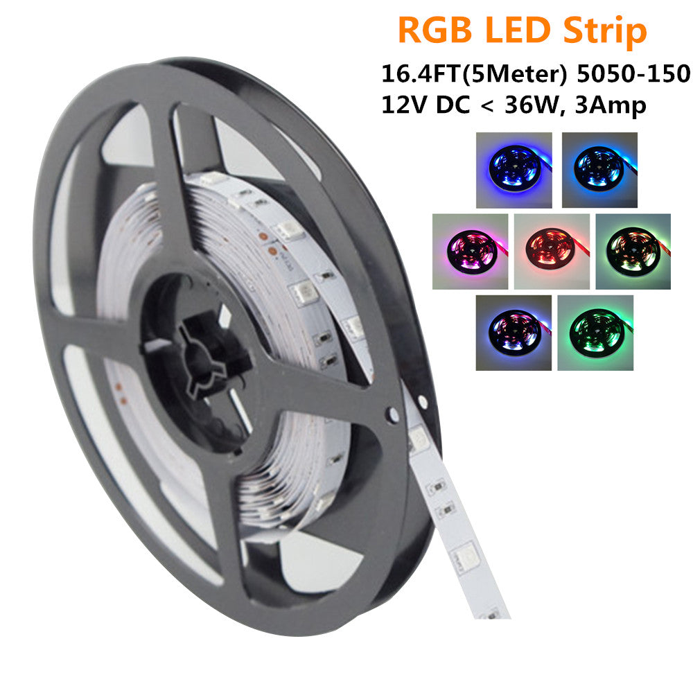 DC12V <36W, 3Amp 5Meter (16.4Feet) SMD5050 150LED RGB Multi-Color Changing Flexible LED Strips 30LEDs 7.2W Per Meter, 10mm Wide White PCB