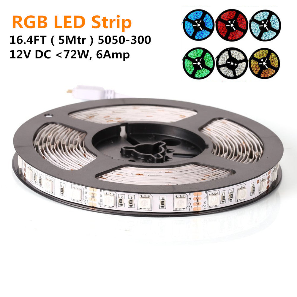 DC12V < 72W, 6Amp 5Meter (16.4Feet) SMD5050 300LED RGB Multi-Color Changing Flexible LED Strips 60LEDs 14.4W Per Meter, 10mm Wide White PCB