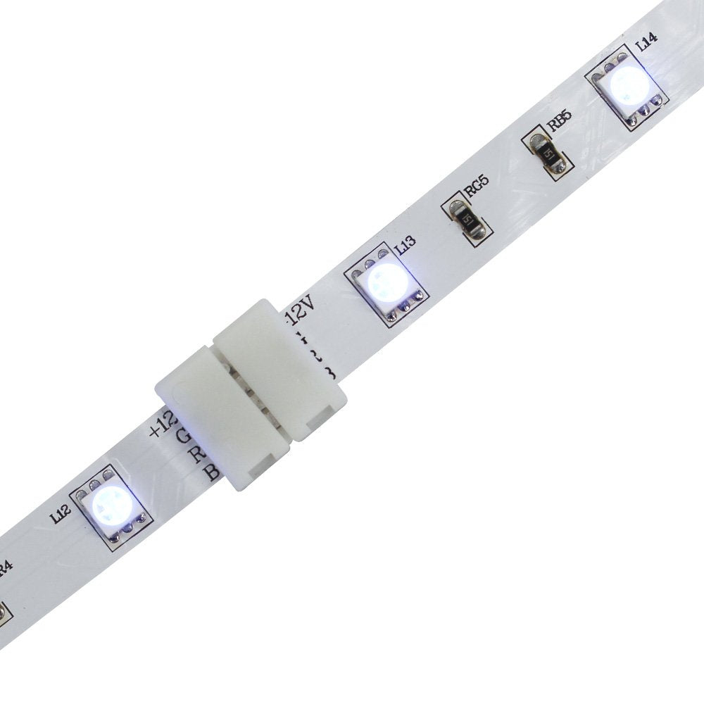LightingWill RGB LED Strip Connector 4Pin 10mm Wire Solderless Snap Down 4Pin Conductor for 10mm Wide 5050 RGB Color Flex LED Strips