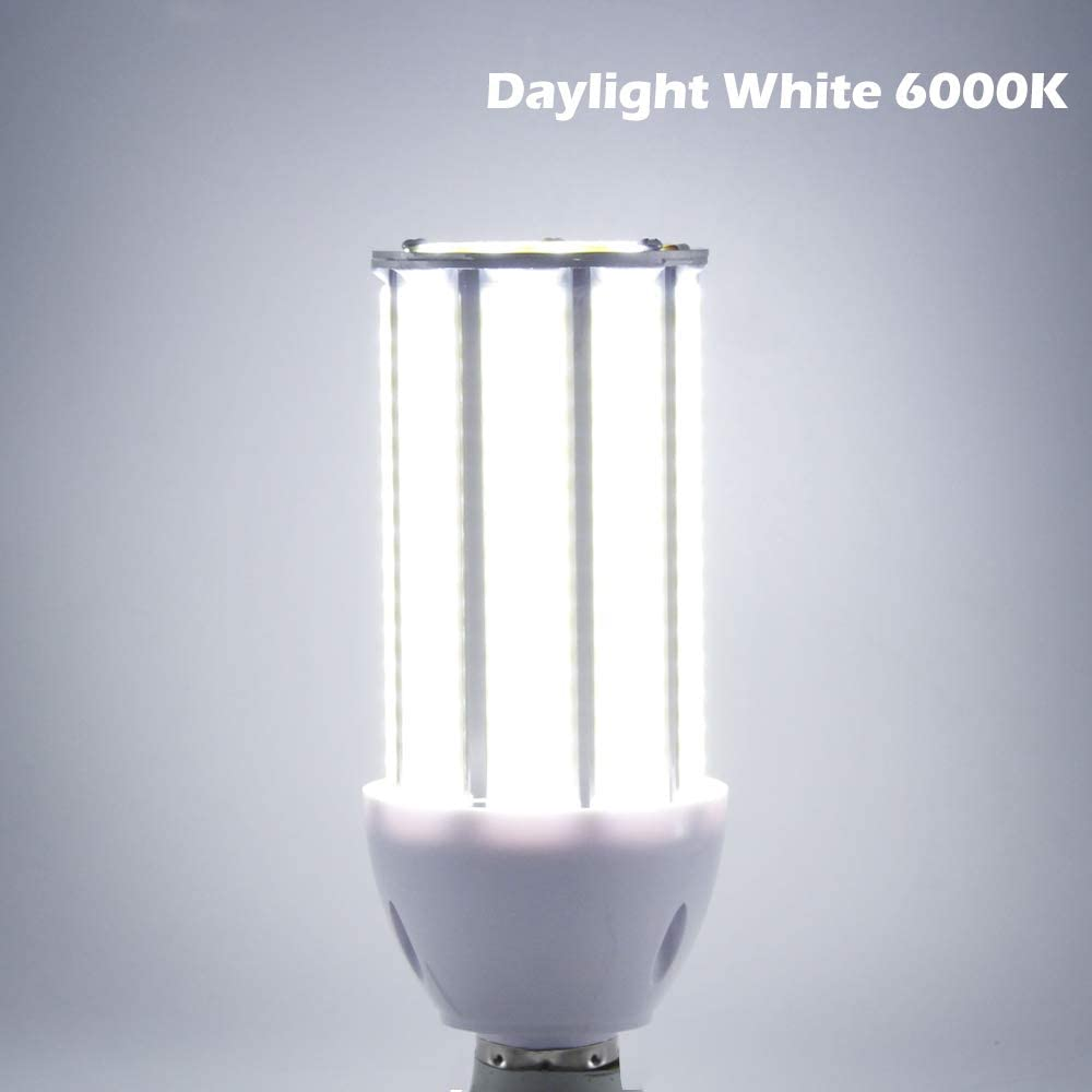Super Bright 50W LED Corn Light Bulb, 5000Lumens Daylight White, E26/E27 Base 350W Equivalent LED Street and Area Light for Outdoor Indoor Factory Garage Warehouse Barn Backyard