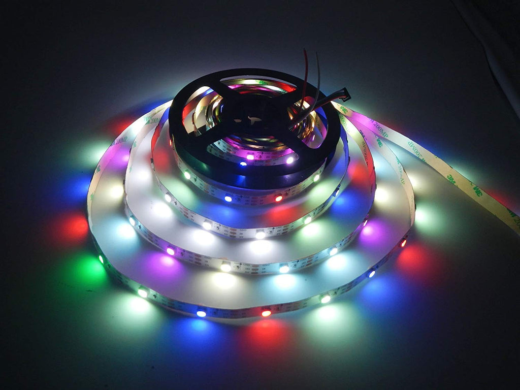 DC 5V SK6812 Individually Addressable LED Strip Light 5050 RGBW 16.4 Feet (500cm) 30LED/Meter LED Pixel Flexible Tape White PCB