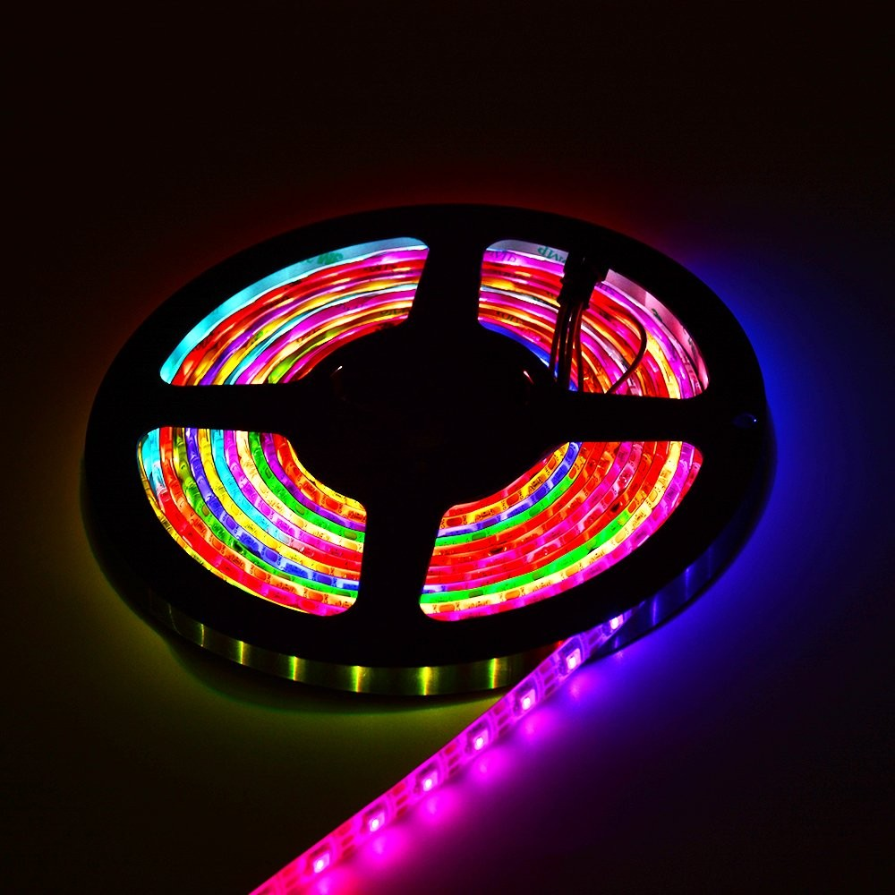 DC 5V SK6812 Individually Addressable LED Strip Light 5050 RGBW 16.4 Feet (500cm) 60LED/Meter LED Pixel Flexible Tape White PCB