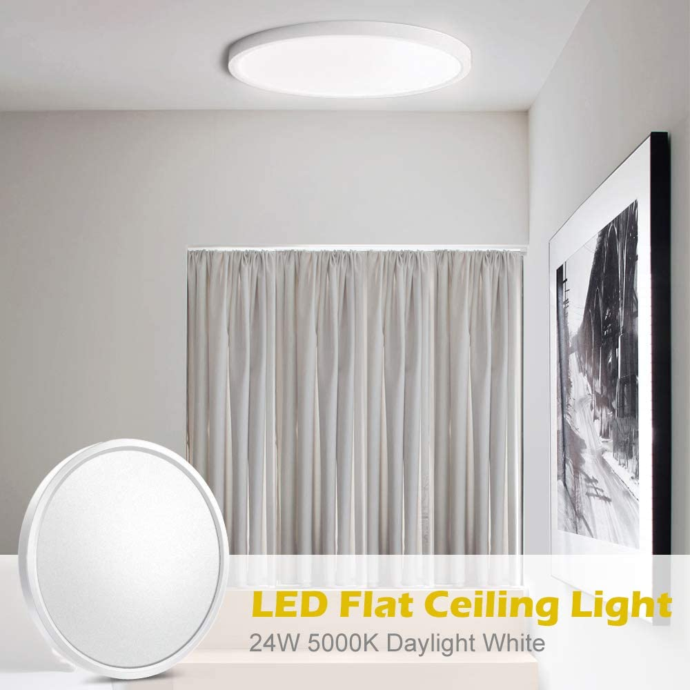 LightingWill LED Flush Mount Ceiling Light Fixture, 2800K/4000K/5000K  3200LM, 12 Inch 24W, Flat Modern Round Lighting Fixture, 240W Equivalent White Ceiling Lamp for Closets, Kitchens, Stairwells, Bedrooms.etc.