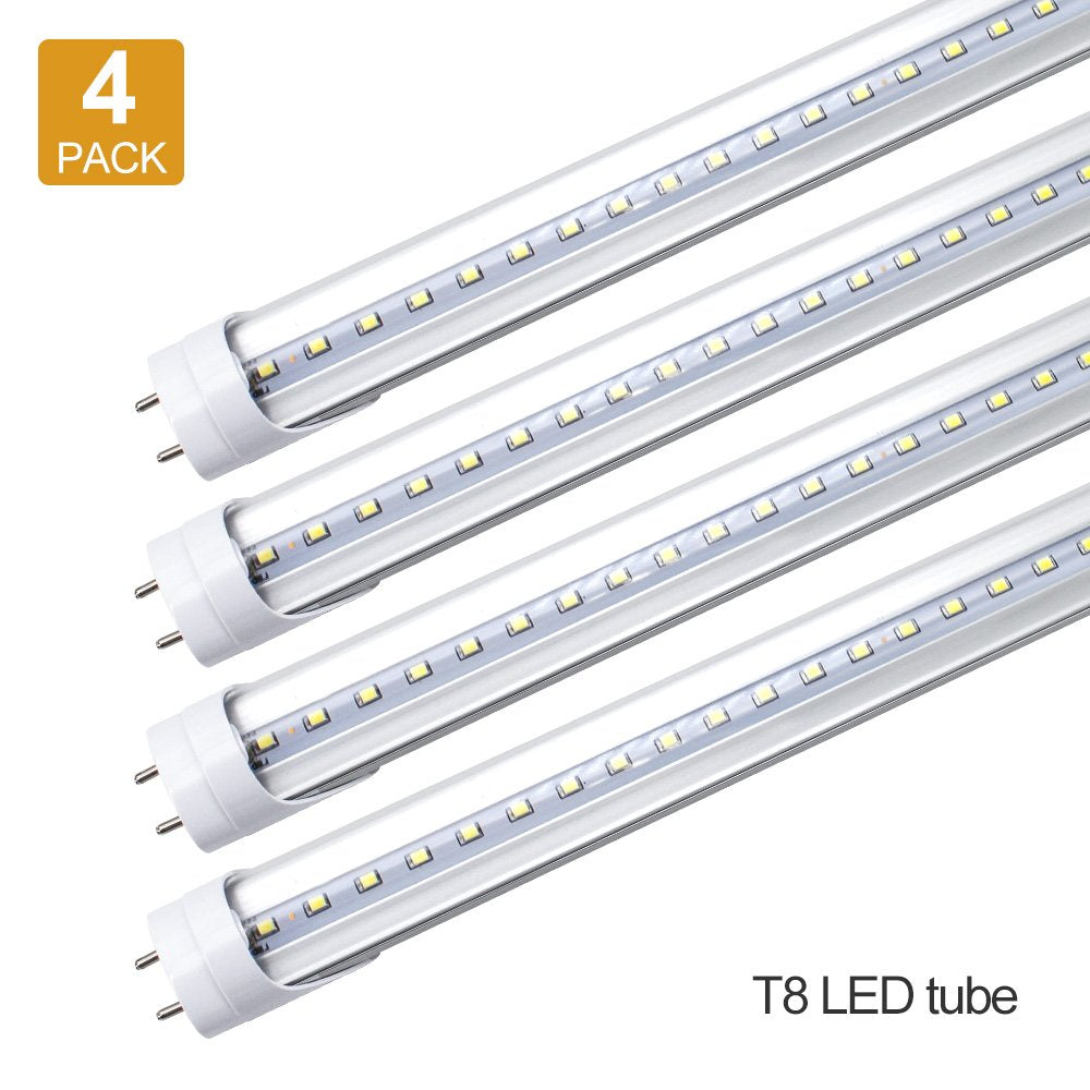 LightingWill T8 LED Tube Light 4Ft Dual-End Powered Ballast Bypass AC85-265V Lighting Tube Fixtures