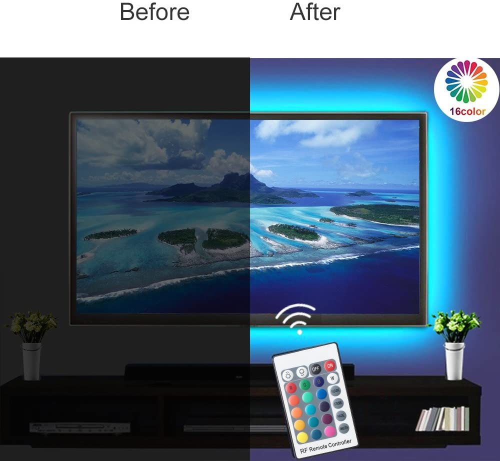 5V LED TV Backlights Kits RGB Color Changeable USB Powered Strip Light with RF Controller for 24 inch-60 inch HDTV, PC Monitor and Home Theater, Atmosphere Building, Eyes Protect.