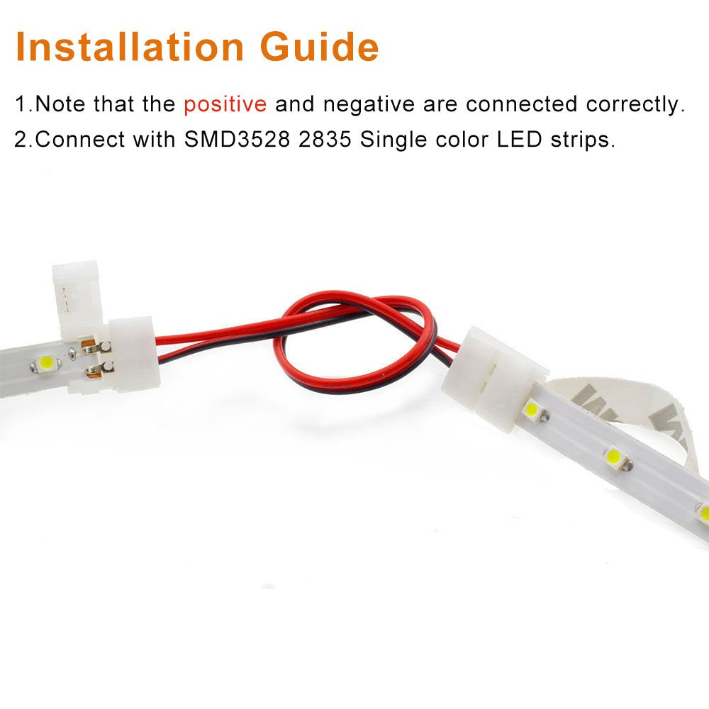 LightingWill LED Strip Connector 2Pin 8mm Wire Solderless Snap Down 2Pin Conductor for 8mm Wide 3528 2835 Single Color Flex LED Strips