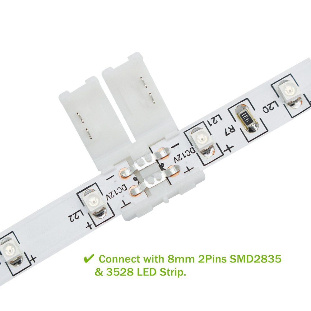 LightingWill LED Strip Connector 2Pin 10mm Wire Solderless Snap Down 2Pin Conductor for 10mm Wide 5050 5730 Single Color Flex LED Strips