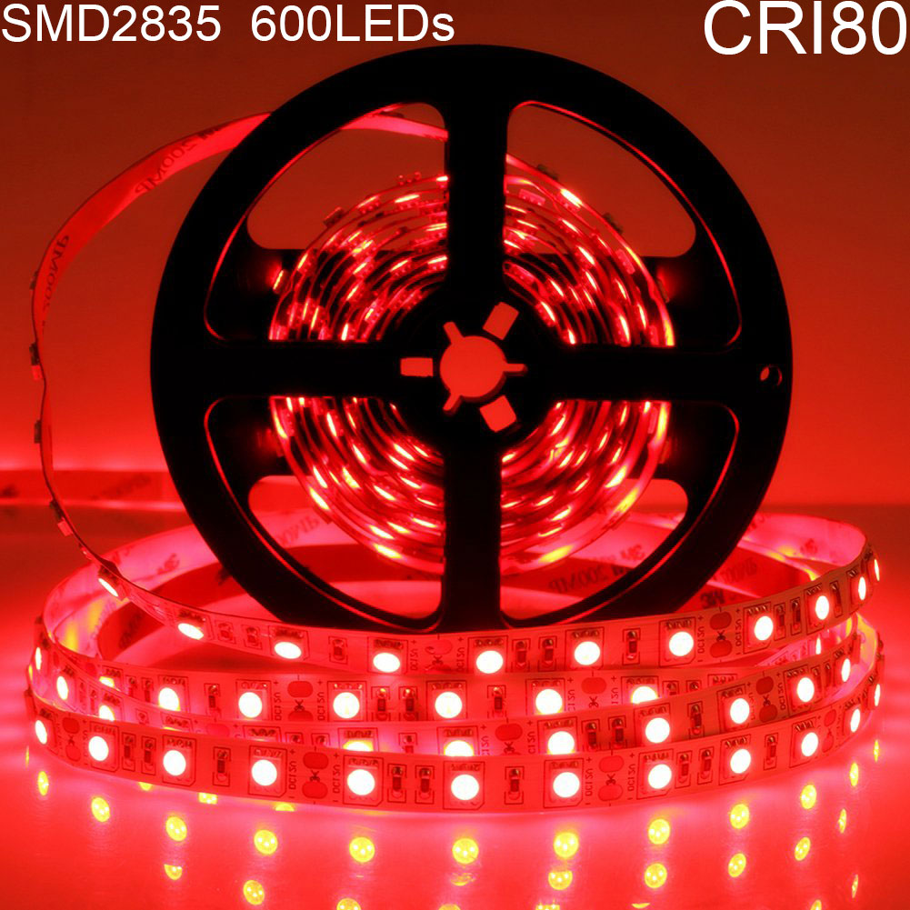 DC12V Red/Blue/Yellow/Green 84W 7A 5Meter (16.4Ft) SMD2835 600LEDs/Roll Color Rendering Index CRI80 Flexible LED Strips 1900LM/M 8mm Wide White PCB