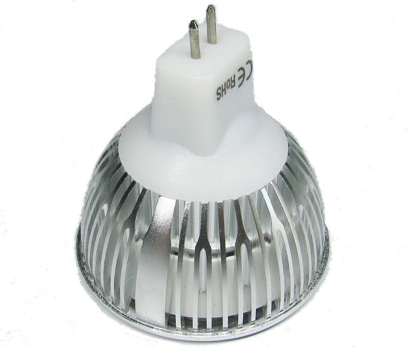 4Pack 3W(3x1W) 12V AC/DC LED Spotlight MR16 GU5.3 Bi-Pin Base Aluminum Housing 30° Beam Angle